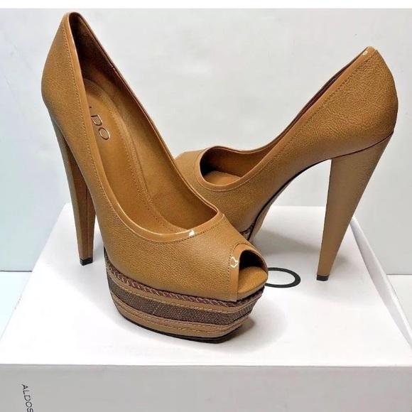 e54a463361b ALDO Struckhoff Brown Stiletto Platform Heels